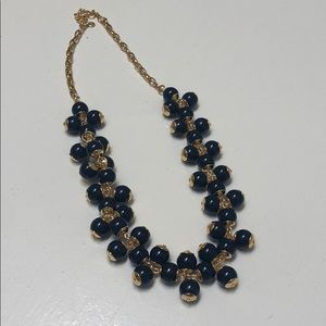 J. Crew Navy and Gold Bauble Necklace